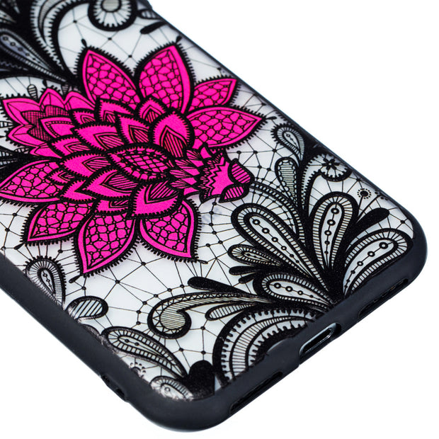 1pcs/lot Sexy Black Lace Flower Back CASE For IPhone 5 5G 5S 6 6G 6S 7 7G 8 8G Plus Protector Phone Case Cover For IPhone X