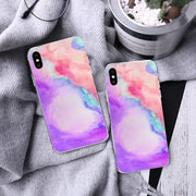 2 Pcs Fashion Color Printing Colored Drawing TPU Phone Cover Graffiti Phone Case Protective Phone Shell For IPhone X