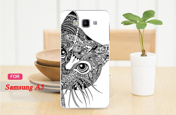 2015 Hot Painting White And Black Animals Hard PC Case Cover FOR Samsung Galaxy A5 A500 A5000