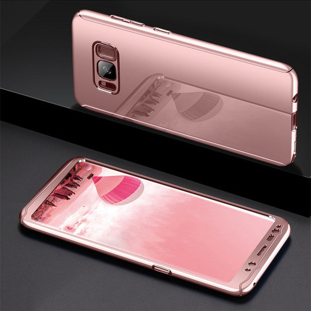 360 Degree Shockproof Cases For Samsung Galaxy S8 S9 Plus Phone Case For Samsung S7 S7 Edge Plating Mirror Full Cover SJK07 E