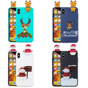 3D Cartoon Cover For IPhone X XR XS MAX Case 5 5S SE 6 6S 7 8 Plus Cases Silicone Soft Cute Merry Christmas New Year Elk Coque