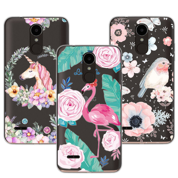 "3D Case Cover For LG K4 2017 5.0"" Relief Lace Plant Flower Cute Soft Silicon Phone Case For LG K4 2017 Fundas Coque K42017+Gift"