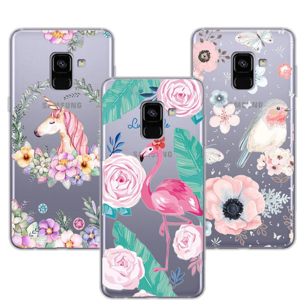 "3D Case Cover For Samsung A8 2018 Relief Lace Plant Flower Cute Soft Silicon Phone Case For Samsung A5 2018 A530F 5.6"" Fundas"