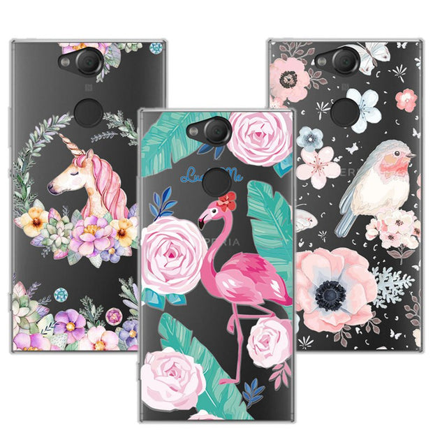 "3D Case For Sony XA2 5.2"" Relief Lace Plant Flower Cute Soft Silicon Phone Cover For Sony Xperia XA2 H4113 H4133 Fundas"