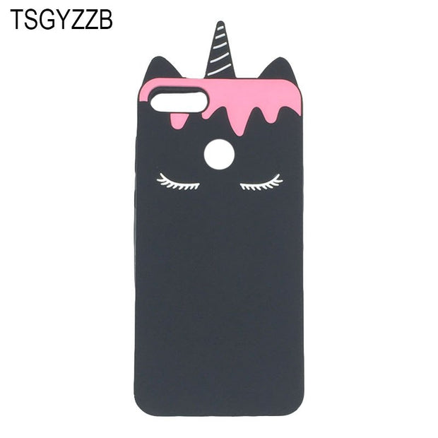 3D Cute Cartoon Unicorn Horse Case For Huawei Y7 Prime Y7 Pro Y6 Y9 2018 Soft Silicone Rubber Cover Enjoy 8 Plus 7 Phone Coque