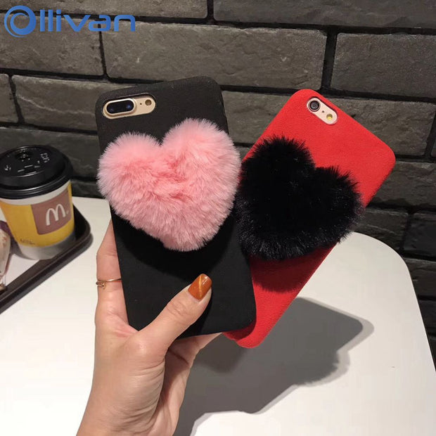 3D Cute Love Heart Case For Iphone XS MAX XR Case Fluffy Fur Plush Soft TPU Silicone Cover For Apple Iphone 7 8 6 6s Plus Case