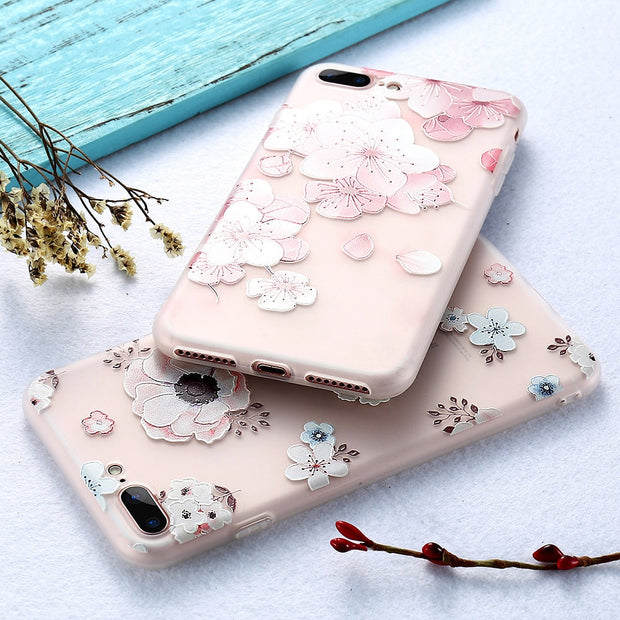 3D Embossing Case For IPhone X 7 6 6s Plus 8 Plus Soft Silicone Tpu Back Cover Cases For IPhone 6 6s 7 8 X Coque Fundas Capa