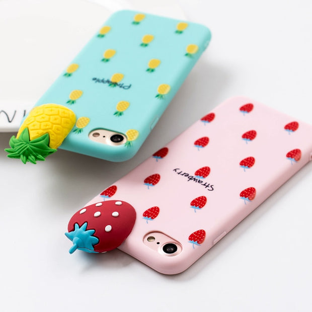 3D Fruit Summer Watermelon Soft TPU Silicon Back Phone Case For IPhone 8 7 Case For IPhone 6 6s 7 Plus 8 Plus Cover Full Protect