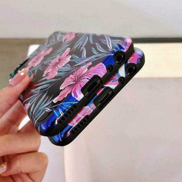3D Matte Hard Case For OPPO A5 Case Blue Floral Case Oppo A5 Full Protective Luxurious Cover Coque OppoA5 Full Protective Shell