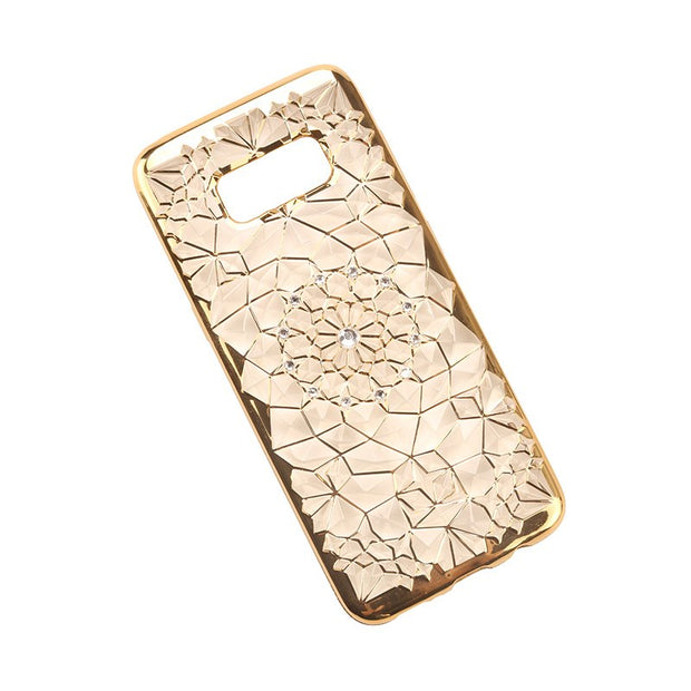 3D Relief Rugged Diamond Flower Glitter Rhinestones Mobile Phone Cases For Samsung Galaxy S8 Plus TPU Soft Cover For S7 S6 Edge