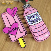 3D Cartoon Lovely Mineral Water 3D Love Popsicles Ice Cream Soft Silicone Case For IPhone 5 5s SE/6/6s Plus 7 8 Plus Phone Case