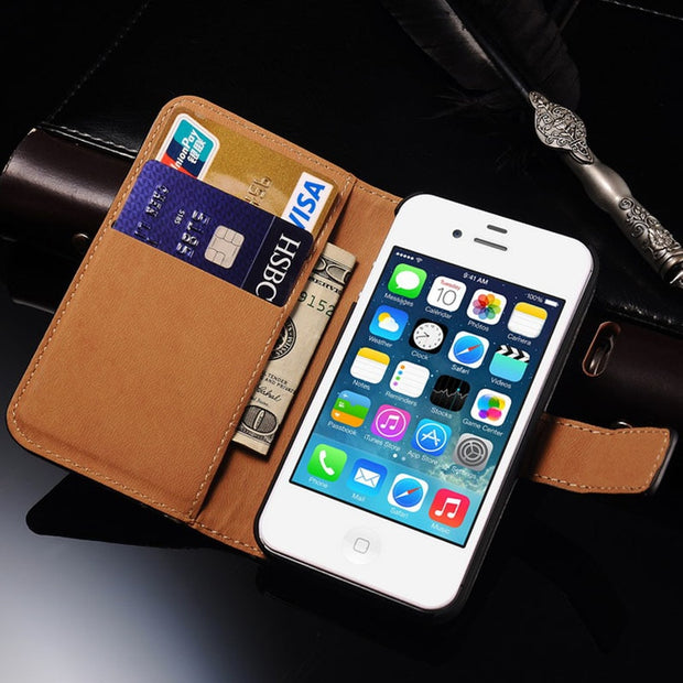 free shipping f8997 c9353 4S Flip Wallet Leather Cover Case For IPhone 4S 4 Luxury Stand Mobile Phone  Bag For Iphone 4 4S Case Cover Coque