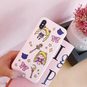 8PLUS Pink Stylish Korea Cute Sailor Moon Phone Case Matte Soft TPU Slim Cover For IPhoneXs Max 6s 7plus Skinny Shell Protection