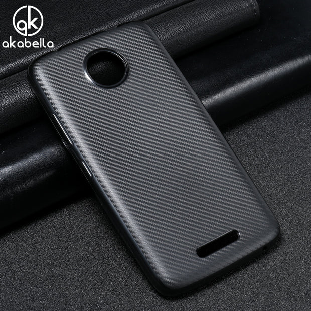 AKABEILA Phone Cover Case For Motorola Moto C XT1755 XT1750 Silicone Case XT1758 XT1756 XT1754 Carbon Fiber Fundas TPU Cover