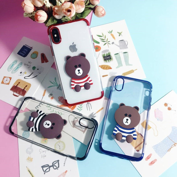 Abbery 3D Bear Soft Silicone TPU Phone Case For Iphone 8 Plus 5S SE Cute Animal Cover For Iphone X 7 Plus 6S Plus 10 Fundas Capa