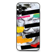 Abstract Art Lines David Print Phone Case For IPhone X XS MAX XR Mona Lisa Funny Spoof Cover For IPhone 7 8 6 6s Plus 5 5S SE