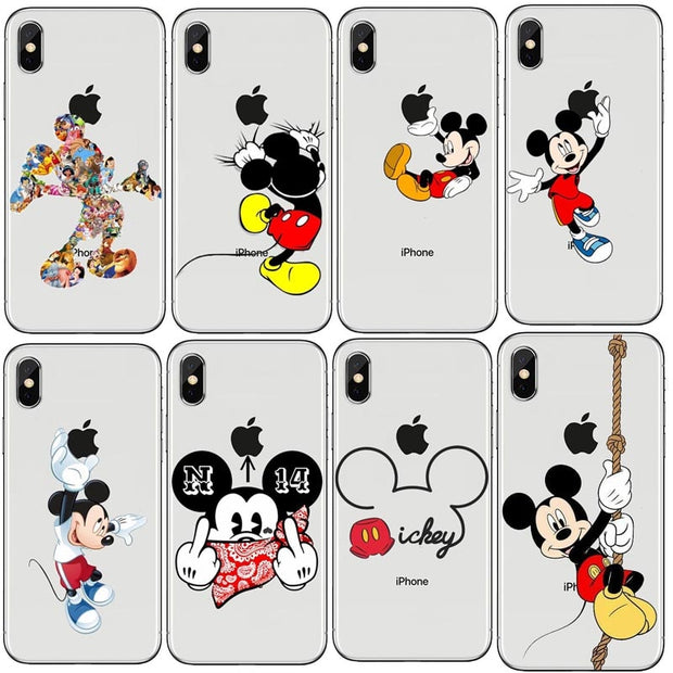 sports shoes d63c1 6035f Animated Character Minnie Mouse Mickey Mouse Soft TPU Clear Case For IPhone  XS Max 8 8Plus 7 7Plus 6 6SPlus 5 5S SE XR