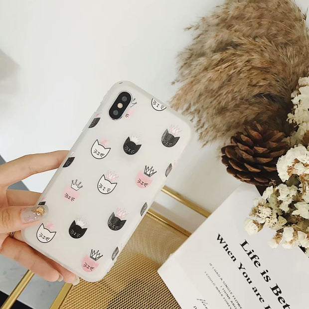 Anime Cartoon For IPhone X Mobile Shell Fun Cute Crown For IPhone 6 6S 7 8 PLUS Scrub Sander Mobile Phone Cases