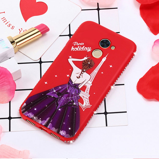 Anti-knock Rhinestone Dress Girl Case TPU Back Shell Anti-Fingerprint Phone Cover For Redmi Note4x