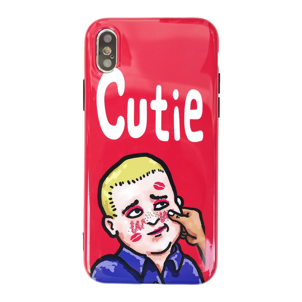 Art Painted Funny Boy For IPhone 7 Cases Cute Cartoon Soft Red Phone Case  IPhone X 6S 6 7 8 Plus Case Silicon Anti,knock Covers