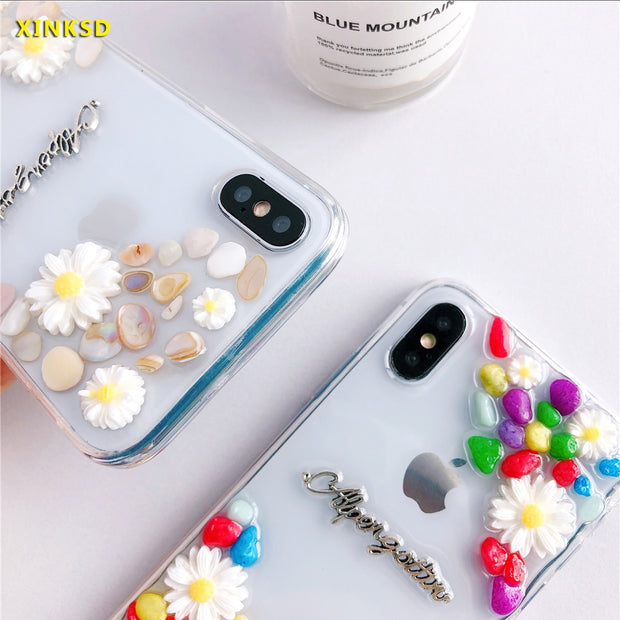 Artistic Small Daisy Made Of Stone Phone Cases For Iphone Xs Max Soft Art Flower Transparent Cover For Iphone 6 6s 7 8 Plus Case