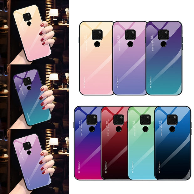 Aurora Gradient Color Tempered Glass Case For Huawei Mate 20 10 Lite Mate 20 10 Pro Back Cover Phone Case For Huawei Mate 20