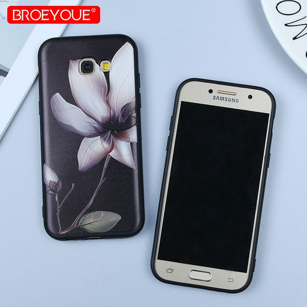 BROEYOUE Silicone Cover For Samsung Galaxy S7 Edge Case Relief Colorful Floral Luxury Black Cover For Samsung S8 S9 Plus Note 8
