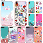BT21 X BTS Bangtan Boys Hot Fashion Transparent Hard Phone Cover Case For IPhone X XS Max XR 8 7 6 6s Plus 5 SE 5C 4 4S