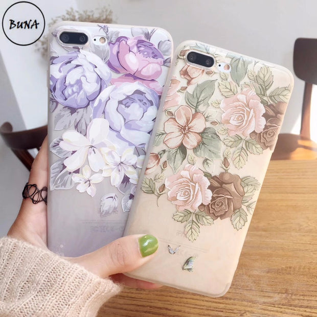 BUNA For Apple Iphone6 6s 7Plus Case Cover Silicone Soft TPU Flower 3D Relief Painting Phone Cases For IPhone8 X XS MAX XR Cover