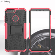 BYHeYang For Huawei P Smart Case For Huawei P Smart Cover ShockProof TPU +PC Phone Stand Case For Huawei P Smart/Enjoy 7S Cover