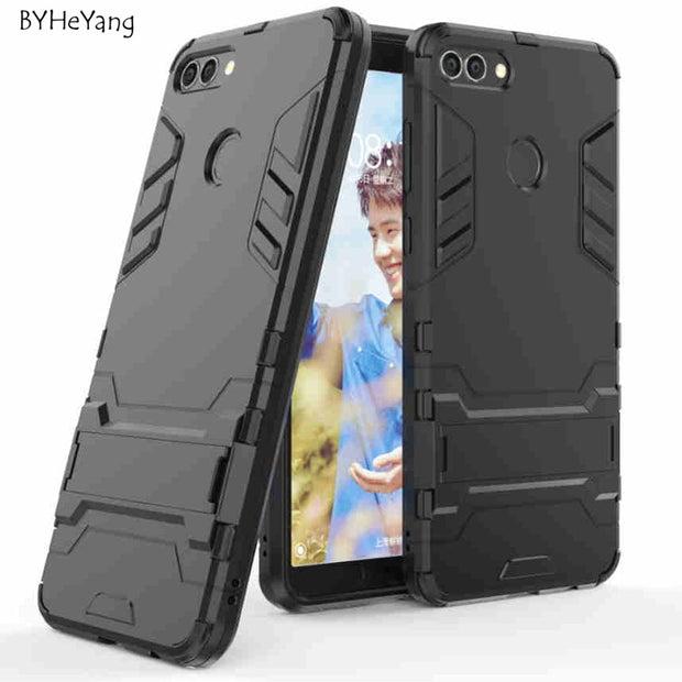 BYHeYang For Huawei Y9 2018 Case Huawei Enjoy 8 Plus Armor Case Robot Silicone Rubber Hard Back Phone Cover For Huawei Y9 2018