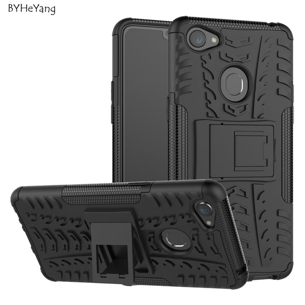 BYHeYang Fundas For OPPO F7 Case For OPPO F7 2018 Cover PC & TPU Hybrid Kickstand Back Cover Armor Case For OPPO F7 F 7 Coque