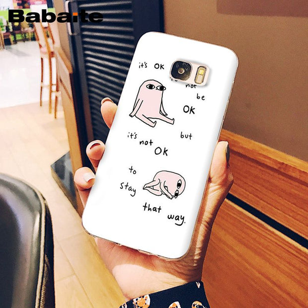Babaite Cute Pink Cartoon Funny Big Eyes Ketnipz Cute Phone Case For Samsung S5 S6 Edge Plus S7 Edge S8 Plus S9 PlusCellphones