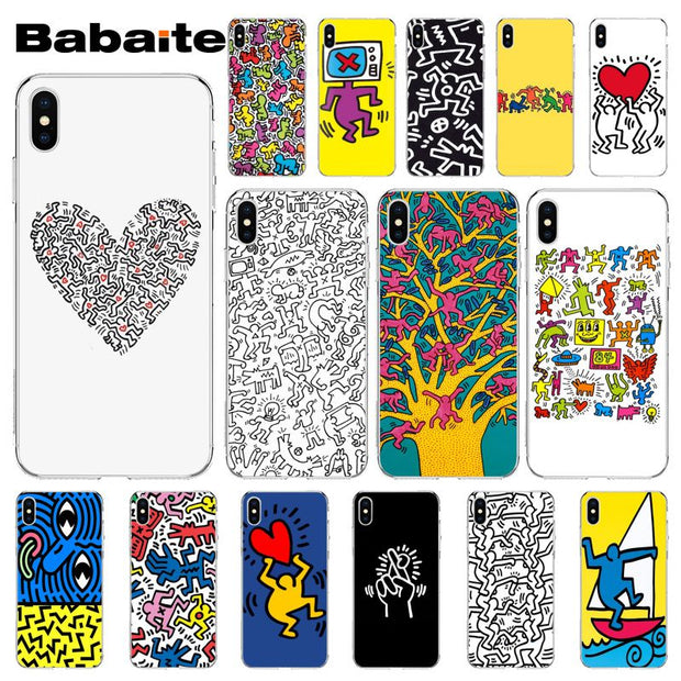 Babaite Keith Haring Art Diy Painted Beautiful Phone Accessories Case For Iphone X Xs Max 6 6s 7 7plus 8 8plus 5 5s Xr