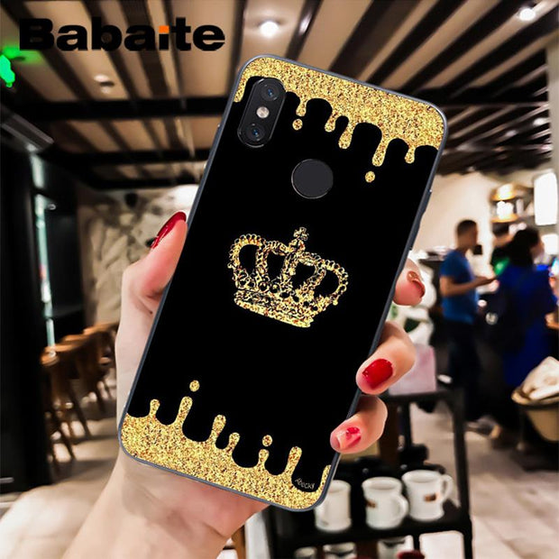 Babaite King And Queen Couple Crown Black Soft Shell Phone Case For Xiaomi Mi 6 Mix2 2S Note3 8 8SE Redmi 5 5Plus Note4 4X 5