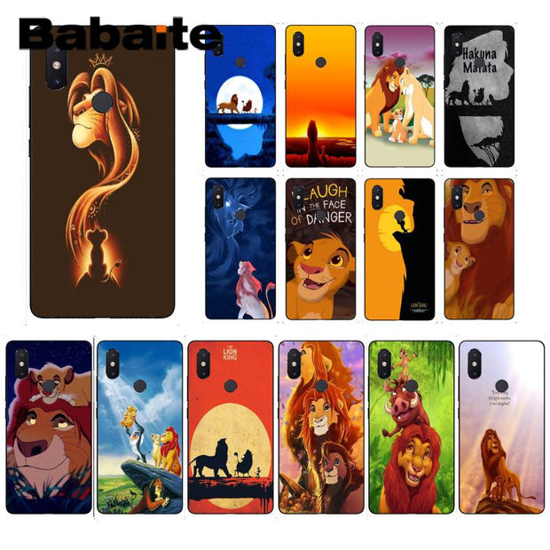 Babaite Lion King Hakuna Matata TPU Black Phone Case Shell For Xiaomi Mi 6 Mix2 Mix2S Note3 8 8SE Redmi 5 5Plus Note4 4X Note5