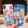 Beily Cartoon Cat Case For IPhone XS Max XR X 8 7 Plus Cute Illustration Relief Soft Silicone Cover For IPhone 8 7 6 6S Plus X
