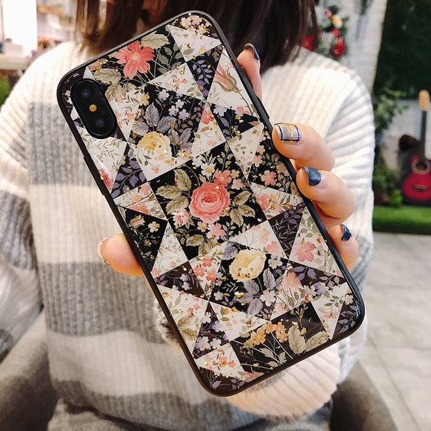 Beily Elegant Flower Case For IPhone XS Max XR X 8 7 6 6S Plus Chic Bling Glitter Fashion Back Soft Cover Case For IPhone XS Max