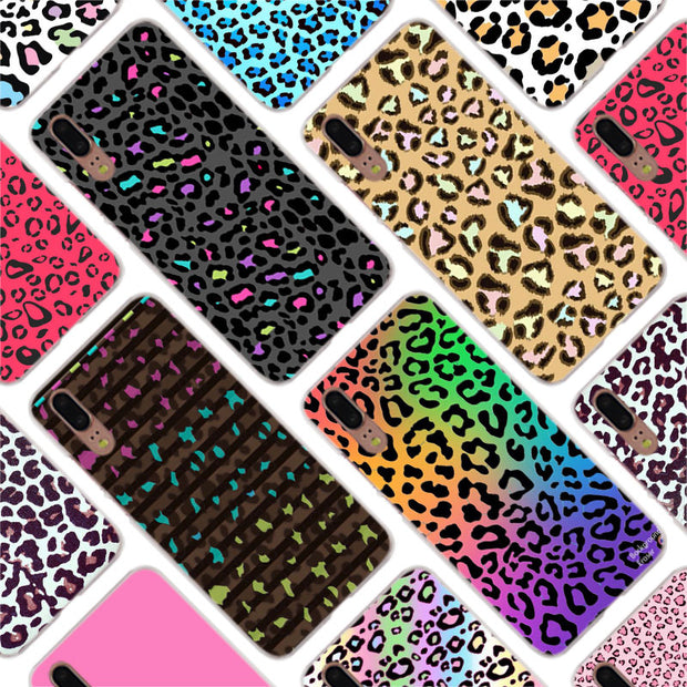 Binful Black Pink Leopard Print Design Cover Case For Huawei P30 P20 Mate20 Pro P8 P9 P10 Mate10 Lite Mini 2017 Plus P Smart Hot