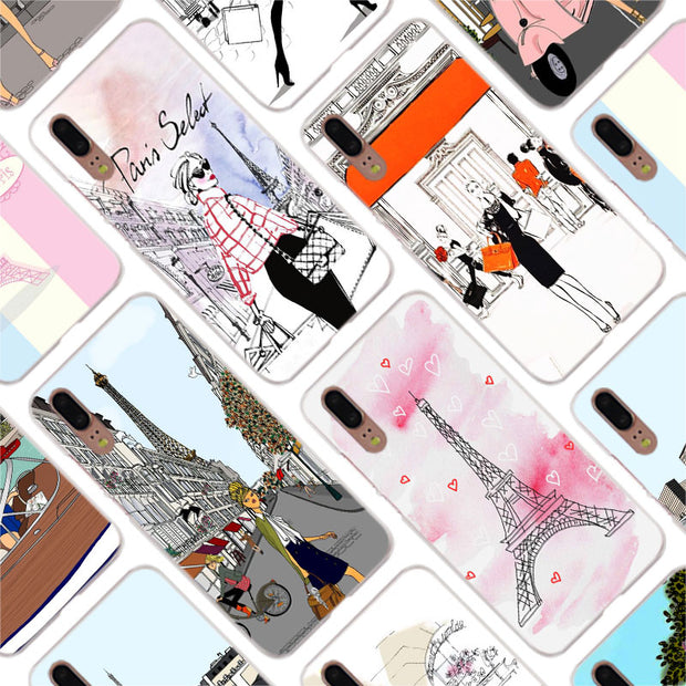 Binful Pink Paris Paris Inspired Style Cover Case For Huawei P30 P20 Mate20 Pro P8 P9 P10 Mate10 Lite Mini 2017 Plus P Smart Hot