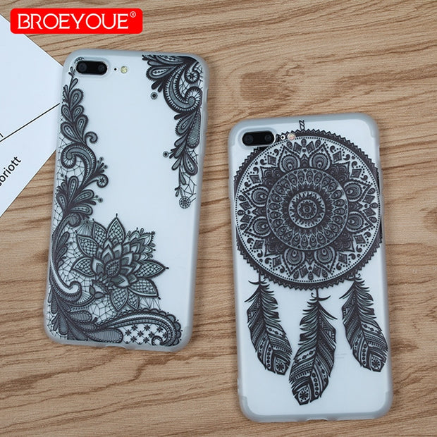 Black Lace Case For IPhone X 7 8 6 6S Plus 5 5S SE Sexy Floral Retro Pattern Soft TPU Silicone Cases For IPhone 7 8 Plus Cover