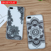 Black Rose Case For IPhone X 6 6S 7 8 Plus Transparent Soft TPU Silicone Cover For IPhone 5 5S 6 6S SE Retro Floral Phone Shells