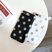 Bling Bling Gold Plating Polka Dot Case For IPhone 6 6S 7 8 Plus TPU Rubber Fashion Case For IPhone XS MAX XR X Soft Back Cover