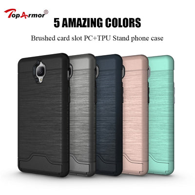 Brushed 3D Armor Case Hybrid PC+TPU Shockproof Case For OnePlus 3 OnePlus Three Phone Case For OnePlus 3T Stand Cover Coque