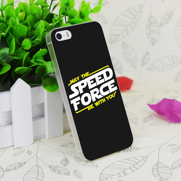 C0449 May The Speed Force Be With You Transparent Hard Thin Case Skin Cover For Apple IPhone 4 4S 4G 5 5G 5S SE 5C 6 6S Plus