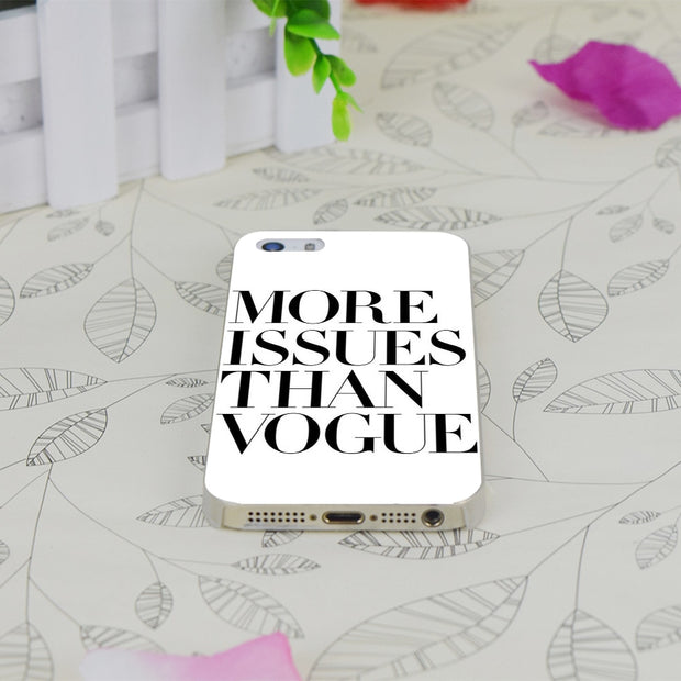 C0557 More Issues Than Vogue White Transparent Hard Thin Case Skin Cover For Apple IPhone 4 4S 4G 5 5G 5S SE 5C 6 6S Plus