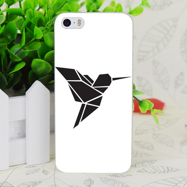 C0847 Origami Kolibri Transparent Hard Thin Case Skin Cover For Apple IPhone 4 4S 4G 5 5G 5S SE 5C 6 6S Plus