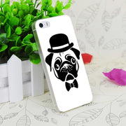 C1088 Pug In A Bowler Hat Transparent Hard Thin Case Skin Cover For Apple IPhone 4 4S 4G 5 5G 5S SE 5C 6 6S Plus