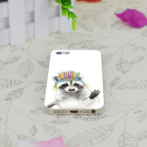 C1126 Raccoon Transparent Hard Thin Case Skin Cover For Apple IPhone 4 4S 4G 5 5G 5S SE 5C 6 6S Plus