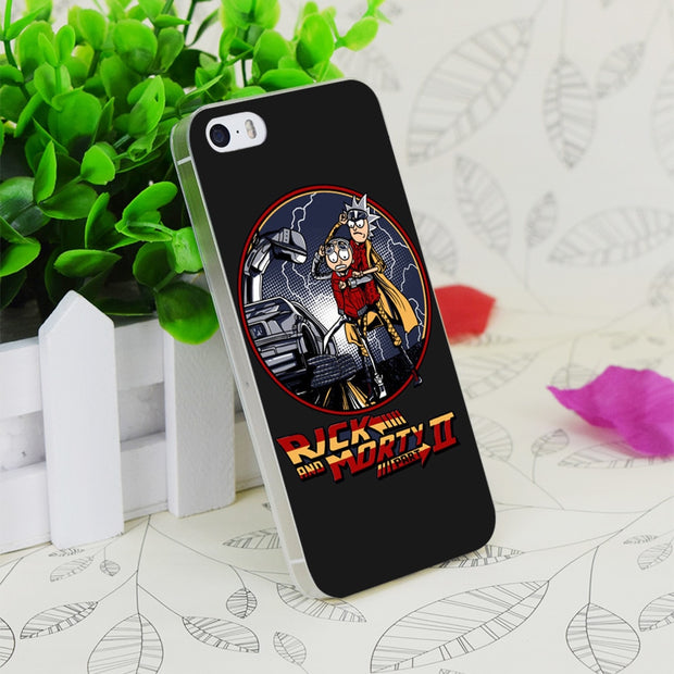 C1211 Rick And Morty Back To Future Transparent Hard Thin Case Skin Cover For Apple IPhone 4 4S 4G 5 5G 5S SE 5C 6 6S Plus